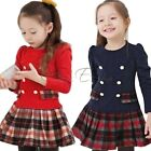 New Kids Toddlers Girls Lovely Plaid Long Sleeve Cotton Pleated Skirt Dress 3T-7
