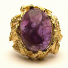 J and S Handmade 14kt Gold Amethyst Cab Claw Ring 18x13mm 12+ct 14k Cocktail