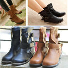 Fashion Women's Lady Girl's Low Heel Mid-calf Strappy Round Toe Boots Shoes PHD