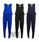 New Womens Summer Puffball Toga Elasticated Waist Jumpsuit Playsuit Maxi 8-14