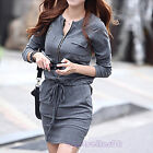 Gray Women Crew Neck Long Sleeve Zipper Dress Summer Casual Gray  S