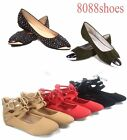 Women's Cute Fahsion Lace Up Round Toe  Ballet Flat Sandal Shoes NEW Size 5 - 10