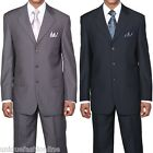 Mens Fashion Striped  3 Button Jacket Suit with pants in Navy or Black   J5802