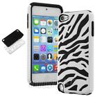 For iPod Touch 6 /5 5th Gen HARD SOFT RUBBER HIGH IMPACT CASE BLACK HYBRID COVER