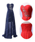 Long Vintage Beads Strapless Bridesmaid Party Formal Evening Ball Cocktail Dress