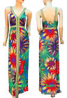 Summer Maxi Dress Green Coral Purple Yellow Firework Print Size 8 12 14 16 New