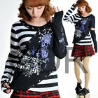 Freeship X LOLITA GOTHIC STRIPED SHIRT CUTE PUNK 71268 WHITE M-L