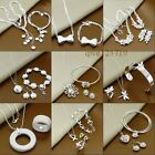Hot!!New Gift fashion 925Silver Jewelry set Bracelet Necklace Ring Earrings+box
