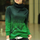 New Women's Cowl Neck Pullover Knit Tops Fashion Floral Slim Long Sleeve Sweater
