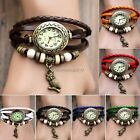 New Hot Lady Retro Bracelet Vintage Owl Weave Wrap Quartz Leather Wrist Watch