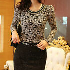 Korean Fashion Women's Floral Lace Semi Sheer long-sleeved Slim Tops Blouse new