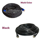 Gold HDMI Cable 1.4 3d Lot PS3 Length 3ft 6ft 10ft  20ft 30ft 40ft 50ft 100ft