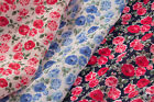 ROSES FLORAL DESIGN - PRINTED POLYCOTTON FABRIC - WIDTH 112 CM - Free UK p&p