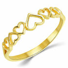 14K Solid Yellow Gold Anniversary Fashion Heart Ring Band