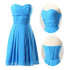 Lady NEW Blue Sleevelss Strapless Chiffon Ball Cocktail Evening Prom Party Dress