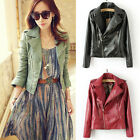 Woman's Europe Casual Fashion Lapel Badges Zipper Slim Faux Leather Jackets Z340