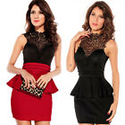 Lady Sexy Blackless Floral Occident Elegant Lace Party Evening Short Club Dress