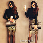 Sexy Women High Waist Hollow Gold Floral Crochet Cocktail Party Pencil Skirt SML