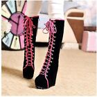 Awesome Womens Goth Roman Super Platform Wedge Heels Lace Up Knee High Boots
