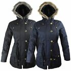 NEW LADIES WOMENS FUR HOODED ZIPPED PARKA JACKET POCKETED COAT SIZE 10 12 14 16