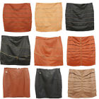 Womens Sexy Faux Leather Tights Mini Skirt Pencil Bodycon Party Black Brown