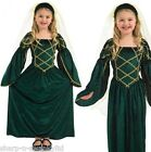 Girl's Green Rich Long Tudor Medieval Girl Book Day Fancy Dress Costume Outfit