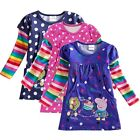 NEW PEPPA PIG Girls Baby Polka Dots Tops T-Shirt Dress Rainbow Sleeves 2 3 4 5 6