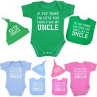 Baby Clothes Uncle Hat Bibs Bodysuits Vests Shower Gifts Set Boys Girls Unisex