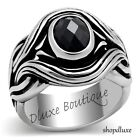 MEN'S OVAL CUT JET BLACK CZ SILVER STAINLESS STEEL GOTHIC BIKER RING SIZE 8-13