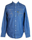 Mens G-Star Raw Designer Stylish Regular Fit A Crotch Denim Rinsed Shirt in Blue
