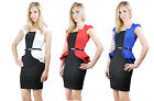 Ladies Scoop Neck Peplum Back Cut Out Bodycon Fitted Formal Womens Mini Dress