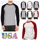 Men's Long Sleeve Baseball T-Shirt Raglan Jersey Casual Tee Crew Neck S-2XL