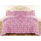 PINK SOLID WATERFALL RUFFLED DUVET BED COVER 3PC/5PC SET 1000TC CHOOSE SIZE
