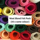 Wool mix felt craft pack | 10 pieces per pack | choice of colours & pack sizes