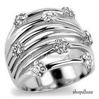 WOMEN'S BLACK & CLEAR CZ SILVER STAINLESS STEEL WIDE BAND FASHION RING SIZE 5-10