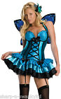 Ladies Adult Sexy Blue Fantasy Fairy Butterfly Nymph Fancy Dress Costume Outfit