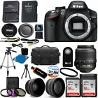 Nikon D3200 Digital SLR Camera + 3 Lens Kit 18-55mm VR NIKKOR Lens + 32GB Bundle
