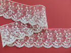 """Ivory Embroidered Tulle Voile Lace Trim 5cm/2"""" Bride Veil Wedding Baby Trimming"""