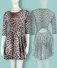 BNWT MISO Brown Leopard Print Flare Skater Dress 10 12 14 Designer Animal NEW