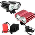 2 CREE 5000Lm XM-L U2 Mountain Bicycle Bike Headlamp Headlight Front Light Lamp