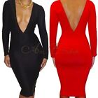 Sexy Womens Deep V Neck Cocktail Clubwear Evening Party Bodycon Bandage Dress
