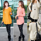 Women Round Neck Long Sleeve Knitted Pullover Jumper Loose Sweater Knitwear E