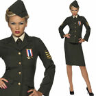 Adults Wartime Army Officer Uniform Outfit - Womens 1940s Fancy Dress Costume