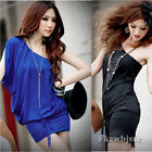 Sexy Women Lady One Shoulder Stretch Bodycon Casual Cocktail Evening Mini Dress