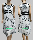 Womans Black White Floral Print Tea Dress Asymmetric Hem Size 10 12 14 16 18 New