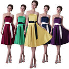 Knee Length Sleeveless Satin Cloth Slim Ball Gown Cocktail Evening Party Dress
