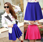 New Womens Candy Color Stretchy Waist Solid Skater Flared Pleated Mini Skirt Hot