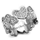 WOMEN'S STAINLESS STEEL HEART SHAPE PAVE CRYSTAL ANNIVERSARY ETERNITY RING 5, 10
