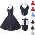 Classic 60s Vintage Polka Dot Swing Jive Rockabilly Short  Dress 7Color S M L XL