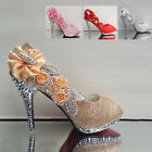 Womens Party Platform High Heel Wedding Bridal Evening Shoes Open Toe Glitter